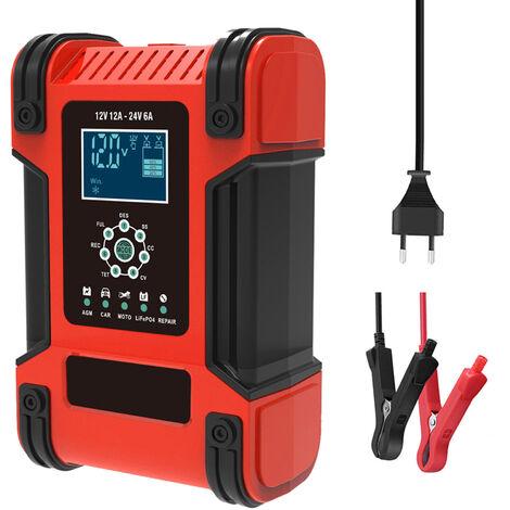 12V 24V 12A Chargeur de batterie intelligent automatique a 7 etages Chargeur de batterie de voiture multifonction Chargeur de reparation d\'impulsion de charge rapide intelligent avec ecran LCD numerique, modele: Rouge