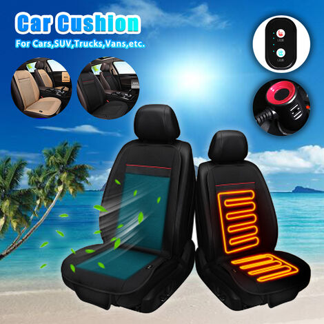 """main image of """"12V /24V Summer Winter Electric Car Seat Cushion Cover Pad Hot Warm Cold Cool Cooling Air Conditioning Breathable 1 Fan Cooler Heater"""""""