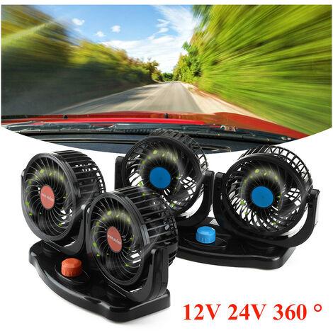 12V 360 ° All-Round Mini Refroidissement à Air Automatique Double Ventilateur Réglable à Faible Bruit (bleu, C)