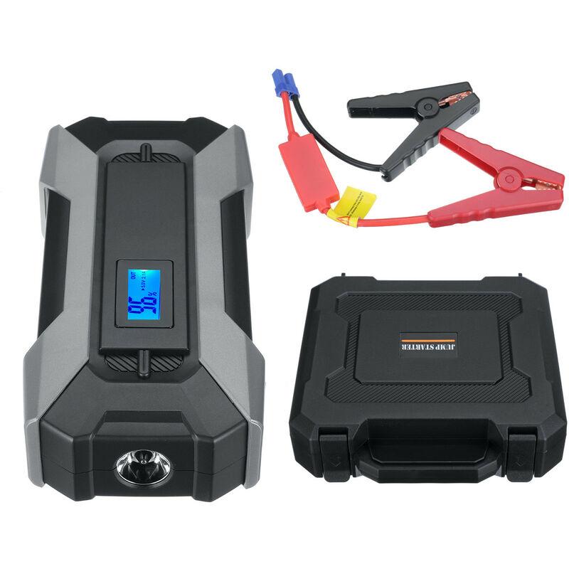 12V Démarreur Chargeur Batterie Voiture Auto Moto Chargeur Intelligent 3 Modes Nocturne/Flash/SOS Noir