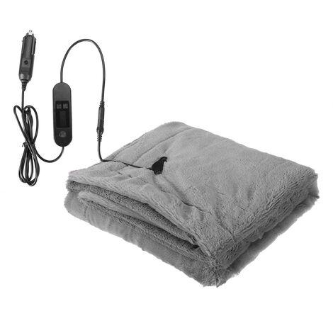 12V Electric Heated Fleece Blanket LCD Display Warm Winter Cover Heater 110x70cm grey