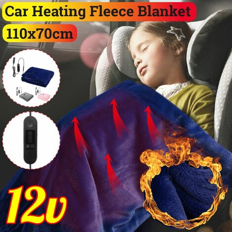 12V Electric Heated Fleece Blanket LCD Display Warm Winter Heating Blanket 110x70cm (Dark Blue, 12V)