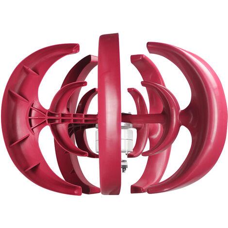 12V generador de viento 1200W con la turbina del cargador del regulador 5 cuchillas Minitype linterna generador de viento Kit Claro molino de viento Energia para Barcos Inicio Carreteras, Rojo, 5 hojas