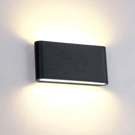 """main image of """"12W Applique Murale Intérieur Extérieur Lampe Murale Aluminium Eclairage Up and Down Conception Moderne Blanc Chaud pour Chambre Maison Couloir Salon Escalier (Noir)"""""""