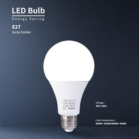 12W bombillas LED E27 bombillas de ahorro de energia de luz blanca de alto brillo de la lempara 6000-6500K para el dormitorio de la sala, 85V-265V