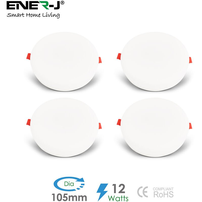 Image of 12W Frameless Recessed-Surface Super LED Panel, 105mm, Round, 6000K (pack of 4)