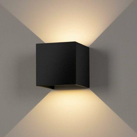 12W Led Applique murale chambre Moderne Interieur, Aluminium luminaires Réglable Lampe Up and Down Design Blanc Chaud pour Chambre Maison Couloir Salon (Noir)