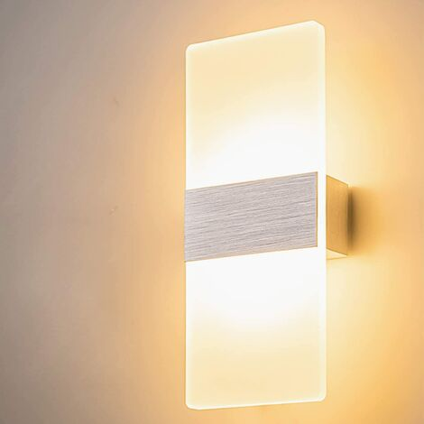 12W LED Indoor Wall Lamp Simple Design Brushed Gray Glass Wall Lamp for Bedroom Living Room Bathroom 29CM [Energy Class A +]