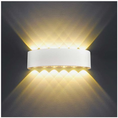 12W Modern LED Wall Light Up Down Indoor Wall Lights Aluminum Wall Lamp Lighting for Living Room Bedroom Bathroom Corridor, Cool White