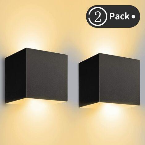 12W*2 Aplique Pared LED Interior/Exterior Blanco Cálido 3000K 1000lm Lampara De Pared IP65 Impermeable Led Lámpara Pared Negro [Clase de eficiencia energética A++]