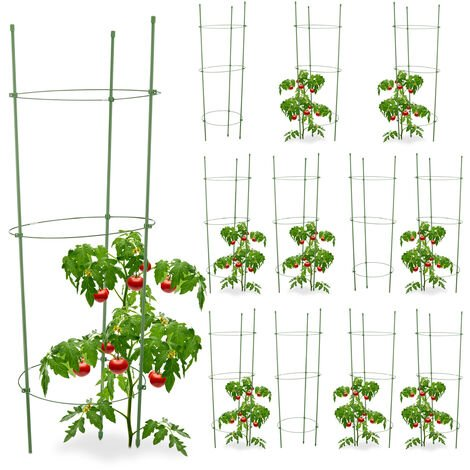 12x Cage A Tomates Tuteur Plantes Grimpantes Support A 3 Anneaux Jardin Balcon Set De 2 76 Cm Long Vert