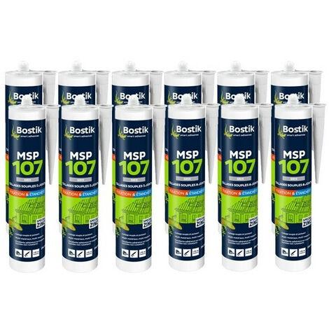 12x cartouches colle mastic polymère MSP 107 (coloris: blanc, gris, noir, brun) BOSTIK - plusieurs modèles disponibles