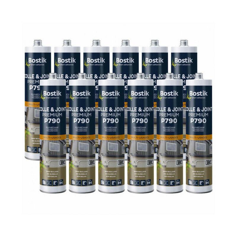 12x cartouches Colle mastic polyuréthane multi-usages P790 (coloris: blanc, gris, noir, beige ou brun) Cartouche 290ml BOSTIK - Couleur: Gris