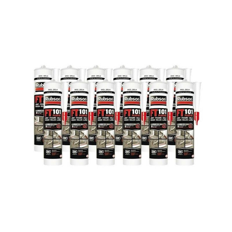 12x cartouches FT101 Mastic polyvalent en polymère Flextec 280 mL (coloris: transparent, blanc, gris, noir, ton pierre, tuile) - Rubson