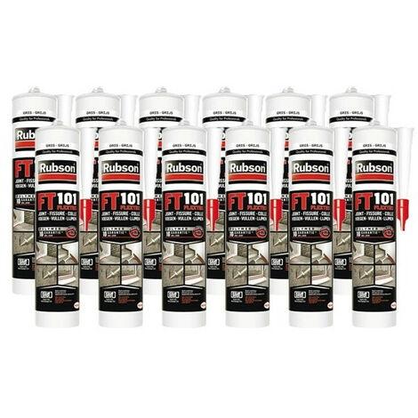 12x cartouches FT101 Mastic polyvalent en polymère Flextec 280 mL RUBSON (coloris: transparent, blanc, gris, noir, ton pierre, tuile) - plusieurs modèles disponibles