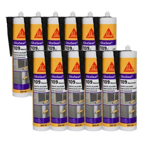 12x cartouches Mastic silicone neutre 300ml Sikaseal 109 SIKA: translucide, blanc, gris, pierre, noir, anthracite - plusieurs modèles disponibles