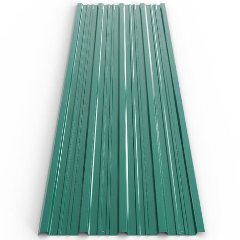 """main image of """"12 x Aluminum Roof Sheets Green or Anthracite – Galvanized Roofing Cladding Panels - Corrugated / Trapezodial 7 m²"""""""