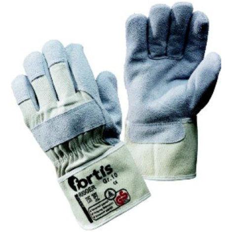 12x Fortis Handschuh Rigger, Rindspaltleder, Gr. 10