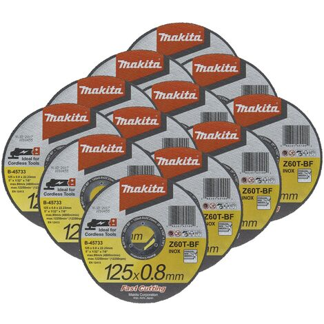 12X Makita B-45733 Fast Cutting Thin Metal Grinder Disc 125mm x 0.8mm x 22.23mm