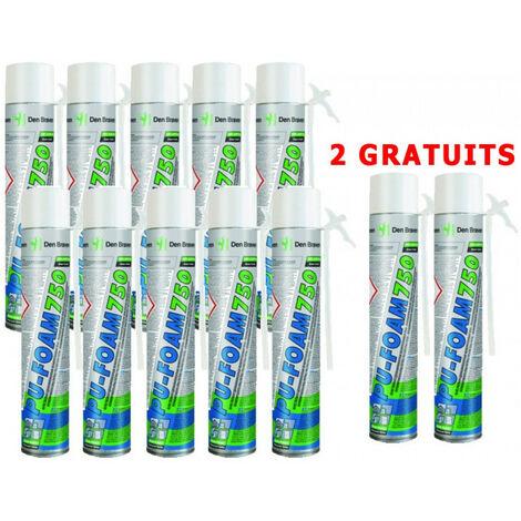 12x Mousse expansive polyuréthane PU-FOAM B3 Den Braven (10 + 2 gratuits)