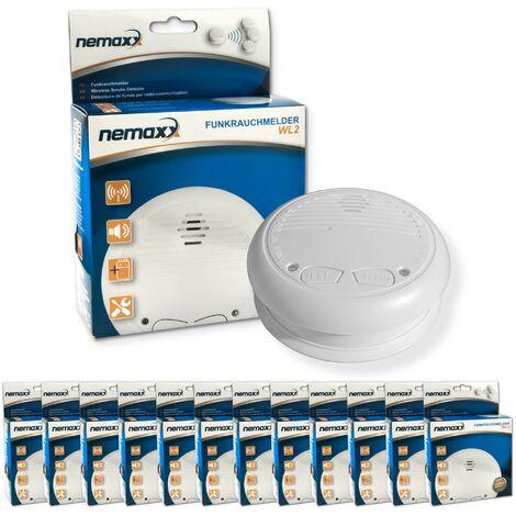 12x Nemaxx WL2 Funkrauchmelder - hochwertiger Rauchmelder Brandmelder Set Funk koppelbar vernetzt - nach DIN EN 14604