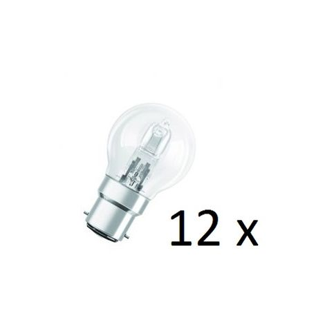12x Osram Halogen BC-B22 Eco Classic 42W Energy Saver Golf Ball Shape Light Bulb