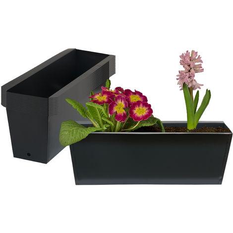 12x Pflanzkasten Palette Anthrazit Paletten Blumenkasten Pflanzkübel 35,5 x 12,5 x 12 cm Palettenkasten