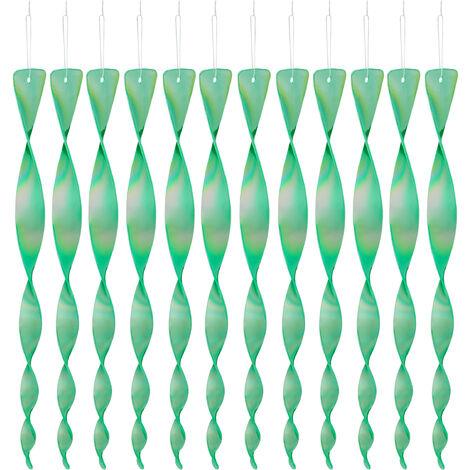12x Set Spaventapasseri a Spirale Riflettente, Balcone & Giardino, 40 cm, Allontana Piccioni, Verde