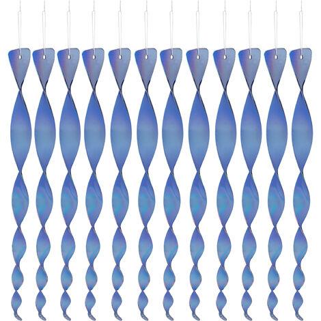 12x Set Spaventapasseri a Spirale, Riflettente, Balcone & Giardino, 40 cm, Deco, Allontana Piccioni, Blu