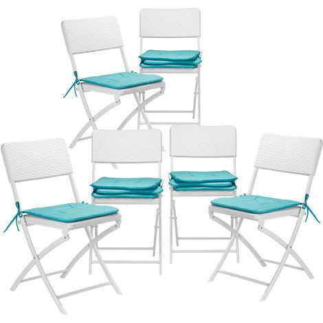 12x Stuhlkissen, Sitzkissen mit Schleife, Auflage für Stühle in Haus & Garten, waschbar, Stuhlauflage, Polyester, türkis