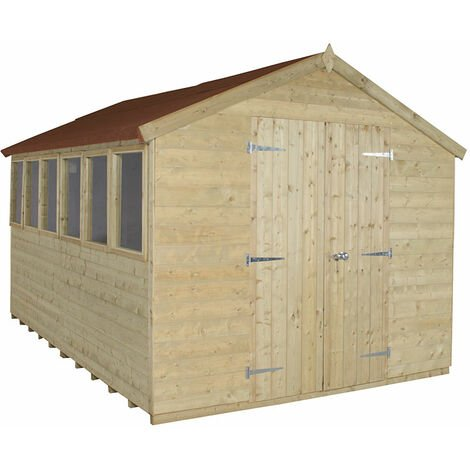 12'x8' Forest Tongue & Grooved Double Door Pressure Treated Apex Shed