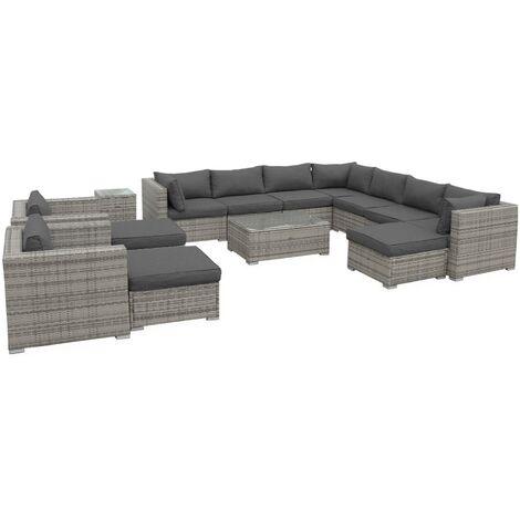 13-14 seater rattan garden sofa set – Tripoli black / grey