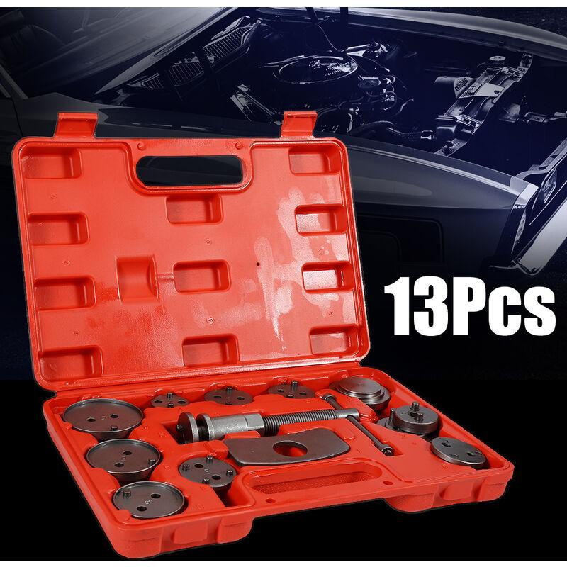 13 pièces Kit d'outils Coffret Set repousse Cylindre de Frein Automobile Dispositif de Démontage Adaptateurs Multi - Rouge-noir