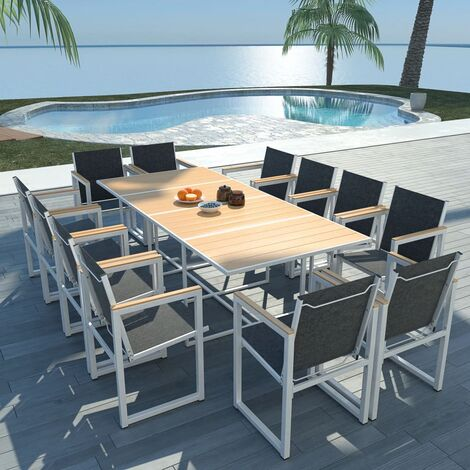 13 Piece Outdoor Dining Set with WPC Tabletop Aluminium