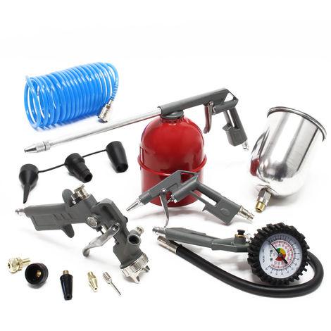 13 Pieces Air Compressor Accessory Tool Set Spray Gun Air Blow Gun Tyre Inflator Air Line Hose