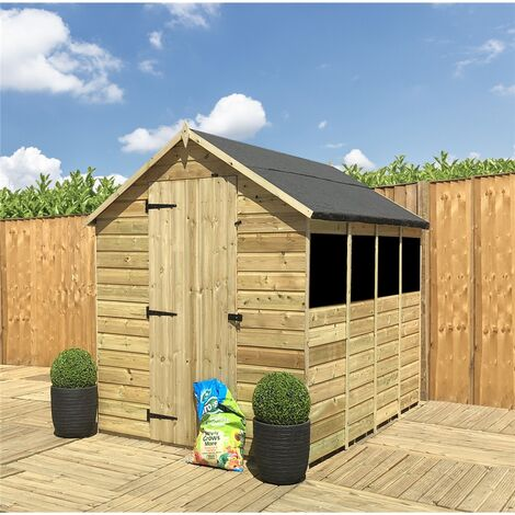 """main image of """"13 x 5 **Flash Reduction** Super Saver Pressure Treated Tongue And Groove Single Door Apex Shed (Low Eaves) + 3 Windows"""""""