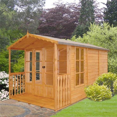 13 x 7 (3.96m x 2.17m) - Premier Wooden Summerhouse + Roof Overhang - 12mm T&G - Walls - Floor - Roof