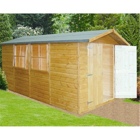 13 x 7 (4.05m x 2.05m) - Tongue & Groove - Apex Shed / Workshop - 3 Opening Windows - Double Doors - 12mm Tongue and Groove Floor