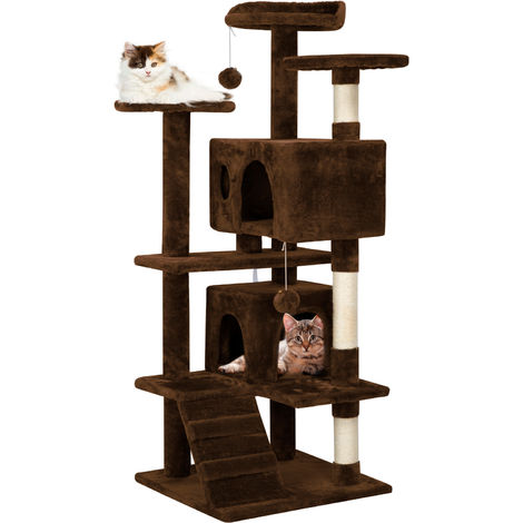 130 cm Cat Tree Tower Post Toy Condo Scratching Post Pet House Activity Centre Brown