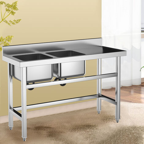 130cm Stainless Steel Double Bowl Side Plat Sink Commercial Catering Workstation