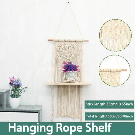 130CM Wall Hanging Rope Shelf Macrame Wall Mount Wood Shelf Tapestry Tassel