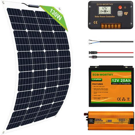 130W Flexible Solar Panel Complete Kit 20AH Lithium Battery 600W 12V-220V Inverter