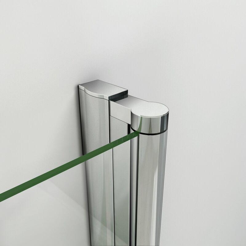 130x140 cm Sopravasca Parete Per Vasca Pieghevole a Libro Cristallo 6 mm Temperato Trasparente Anticalcare Da 3 Antine
