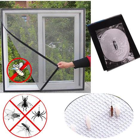 130x150cm Moustiquaire Fenêtre Rideau D'moustiquaire Avec Velcro Auto-adhésif pour Anti Mouche Insecte Moustique2PCS