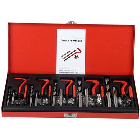 131 Pieces Kit De Reparation Helicoil A Filetage Denude, Metrique M5 M6 M8 M10 M12, Rouge
