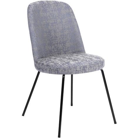 1319 Juego de 2 sillas de comedor en metal gris con patas grises