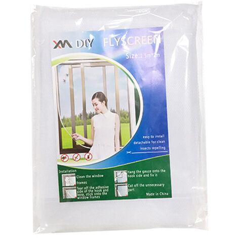 1328 moustiquaire simple auto-adhesive, fenetre d'ecran invisible DIY peut etre coupee et cryptee avec Velcro, blanc 1.5 * 2 metres