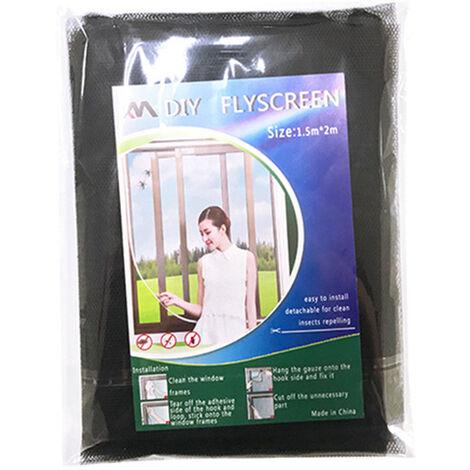 1328 moustiquaire simple auto-adhesive, fenetre d'ecran invisible DIY peut etre coupee et cryptee avec Velcro, noir 1.5 * 2 metres