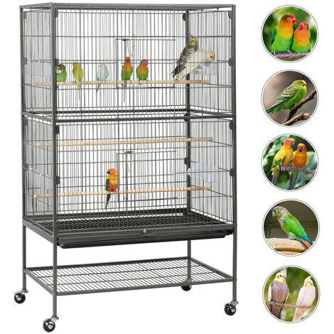 132cm Large Bird Cage Rolling Metal Parrot Lovebird Cage Extra Storage Shelf
