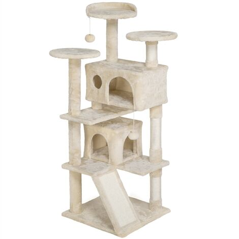 137cm Cat Tree Tower, Cat Stand with 3 Cat Scratching Posts/ 2 Cozy Condos/Cat Scratching Board/ 2 Kitten Toys for 2-3 Large/Medium Adult Cats Beige